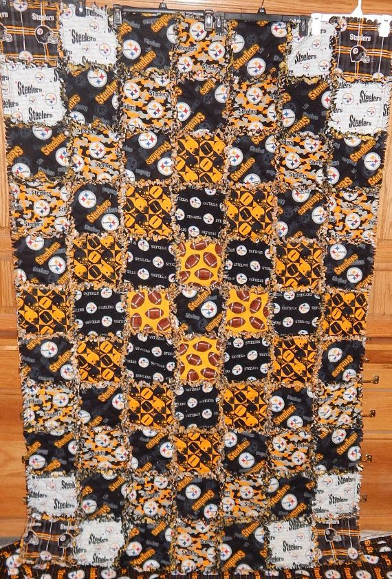 Pittsburgh Steelers blanket NFL football cotton flannel rag quilt Ready to Ship Americas team black gold steel curtain yellow camo white