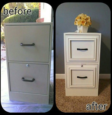 'This is a simple and quick way to give that old boring gray filing cabinet a makeover! Come in and pick a color of our #CeCeCaldwellsPaints, grab a couple cheapie 8x10 picture frames and some adhesive! Voila!!  And don't let this cold weather stop you from doing any project with CeCe Caldwell's Chalk and Clay paints...no smell, no VOC's, no problem!! You can work on your project in your warm and cozy home!!  (Source: Pinterest, artist unknown)'