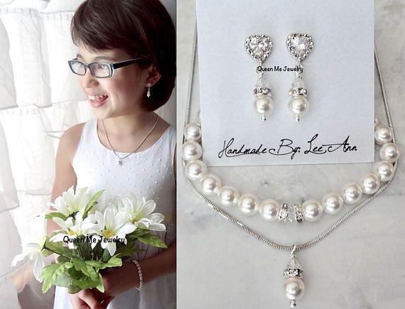 Flower girl pearl jewelry set Junior bridesmaids pearl