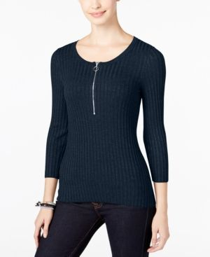 Inc International Concepts Petite Zip-Up Ribbed Sweater, Only at Macy's - Blue P/XS