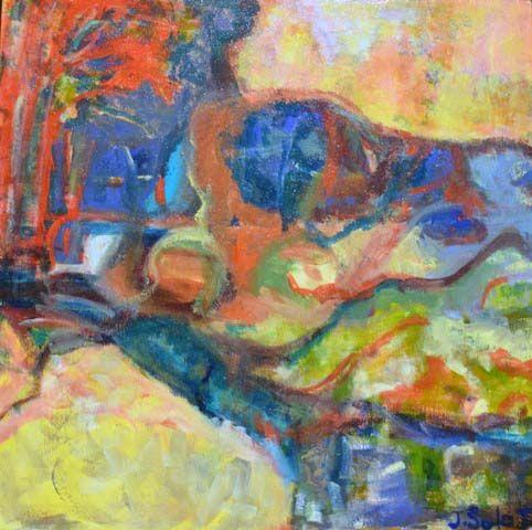 Jennifer Sulaj  'Yellow Fields Spring'  Acrylic on Canvas 45cmx45cm