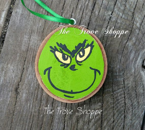 Grinch wood slice ornament  hand painted by TheTroveShoppe on Etsy