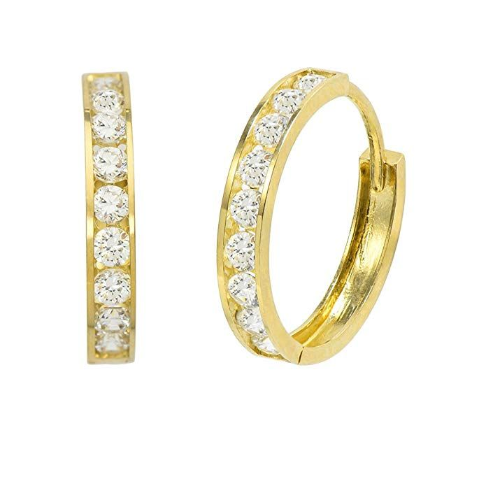 Cubic Zirconia Round Hoop Earrings,14K Yellow Gold