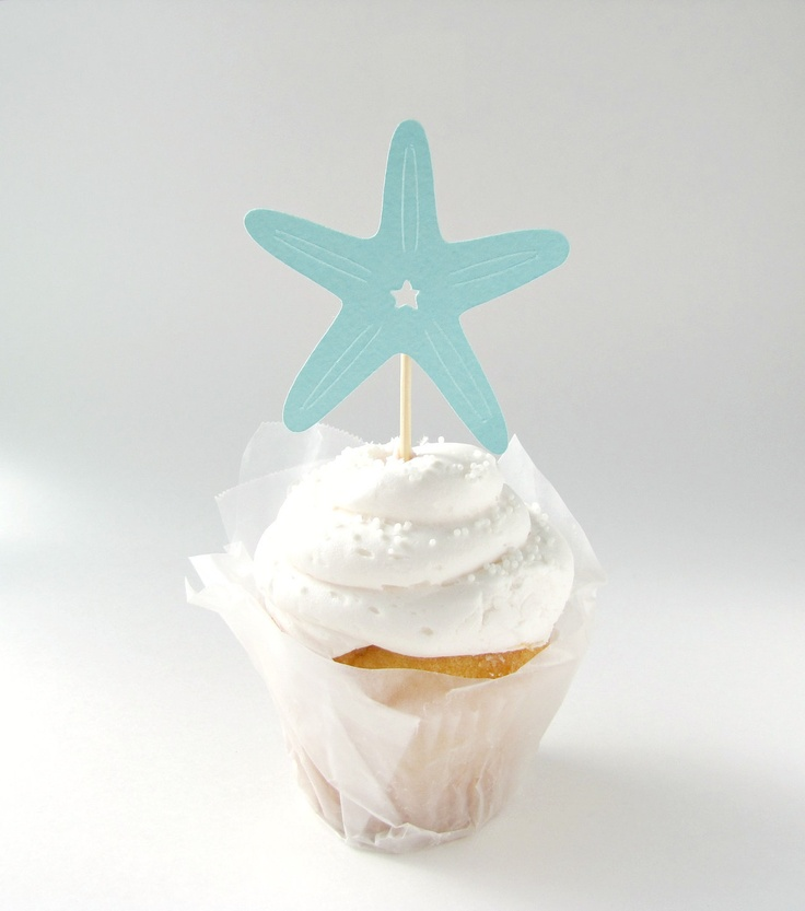 24 Starfish Cupcake Toppers for Beach Weddings or Parties by Kiwi Tini Creations