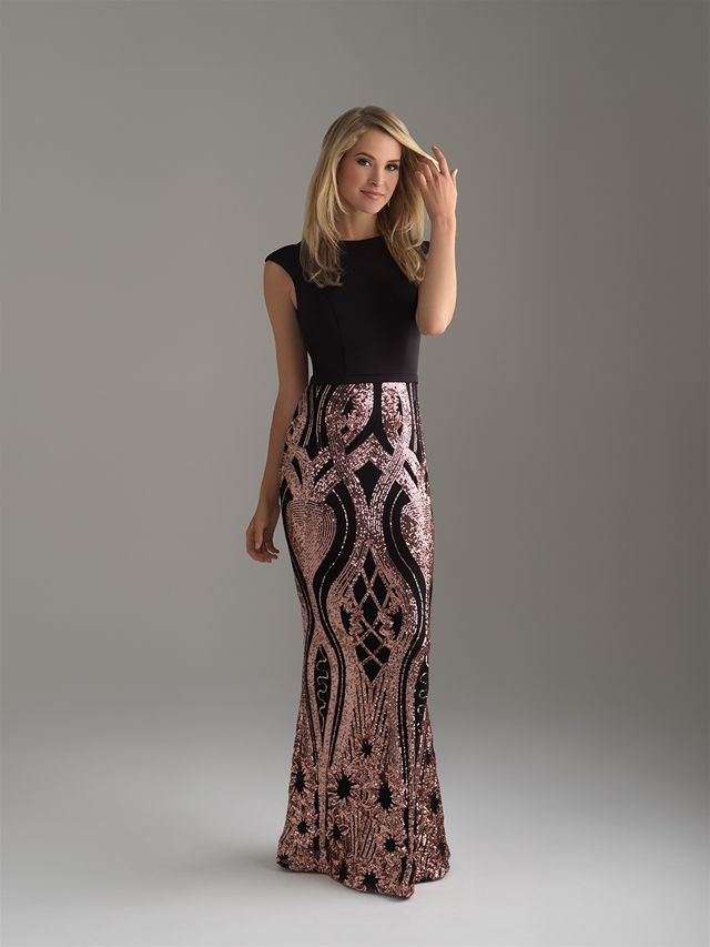 Madison James Prom Dress In Black And Rose Gold Rose Gold Prom
