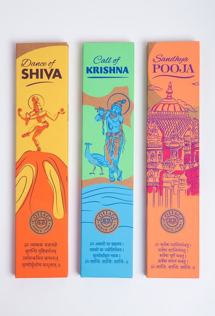 A vibrant and artistic range of box packaging designed for a series of premium religious incense. Three artisanal incense variants themed after Lord Shiva, Lord Krishna and the ceremonious temples of India, find their way onto packaging that seems hand-pa…