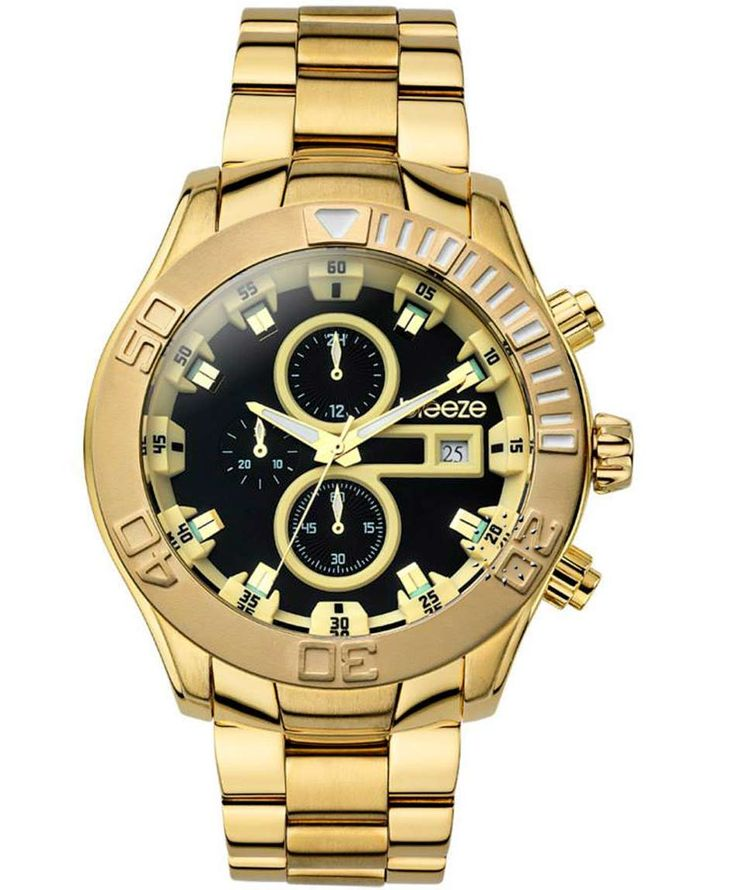 BREEZE Iconic Chrono Gold Stainless Steel Bracelet Τιμή: 205€ http://www.oroloi.gr/product_info.php?products_id=35239