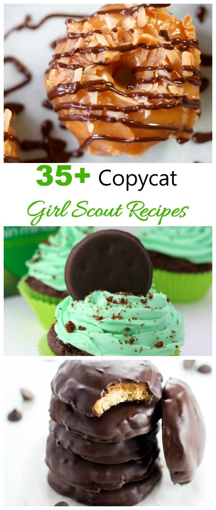 These copycat Girl Scout Recipes give you the flavors of your Favorite Girl Scout Cookie in a home made version. #girlscouts #copycatrecipes #girlscoutcookies