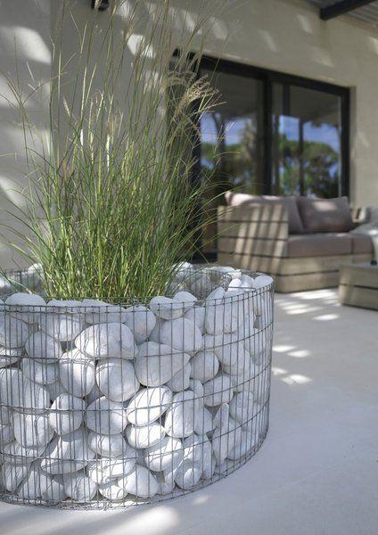 white boulder gabion contemporary planter