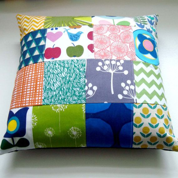 Modern Patchwork Pillow : take 25% off - Scandinavian style modern patchwork Cushion / Pillow cover Patchwork cushion ...