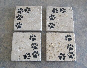 Paw print coasters rustic natural stone by maggiemaybecrafty