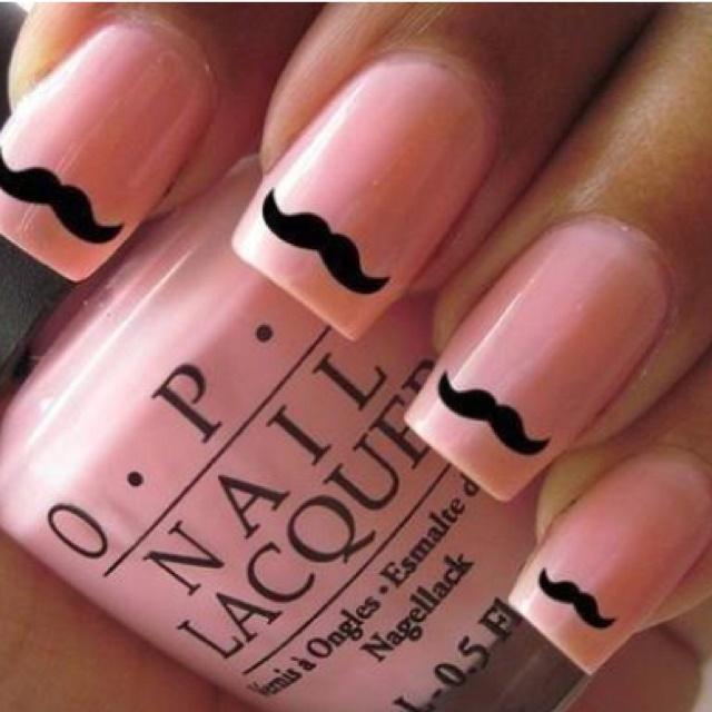 Wantt: Nails Art, Pink Nails, Nailsart, Moustache Nails, Beautiful, Stars Nails, Black Stars, Mustache Nails, Nails Wraps
