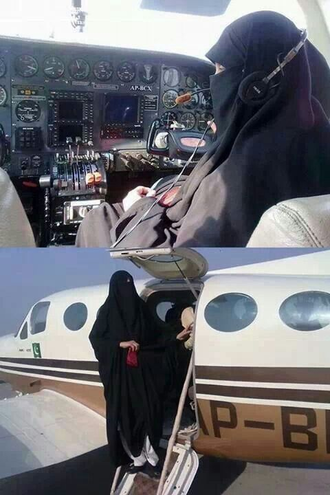 Very inspiring, a veiled Muslimah pilot. You don't need to undress to do what you love.