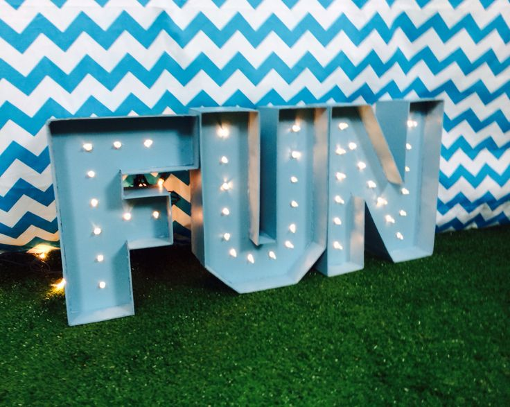FUN marquee lights for the photo booth