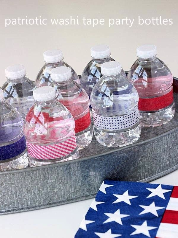 Patriotic craft: water bottle party favors - Washi Tape Crafts
