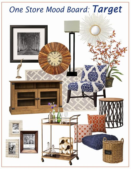 Navy amp Orange Living Room Mood Board Everything Found At One Store Comfy