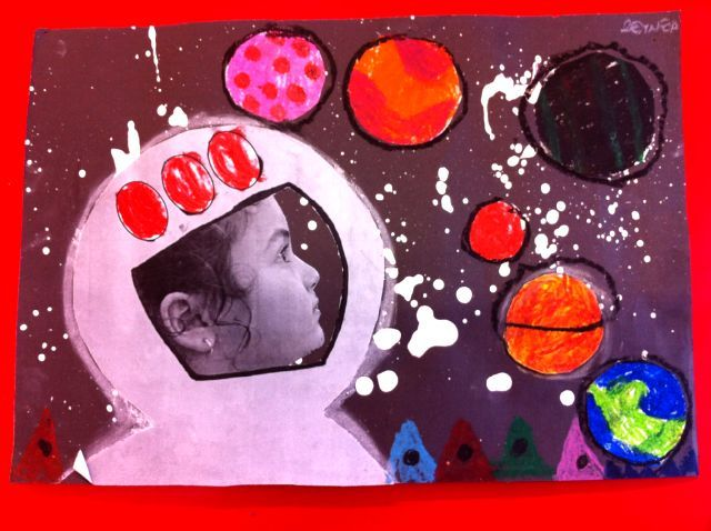 Astronaut self-portrait. This would make a great bulletin board. Big quote about dream with all of the student work around it.