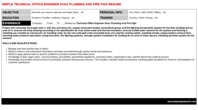 Technical Office Engineer Hvac Plumbing And Fire Figh CV Resume - hvac engineer sample resume