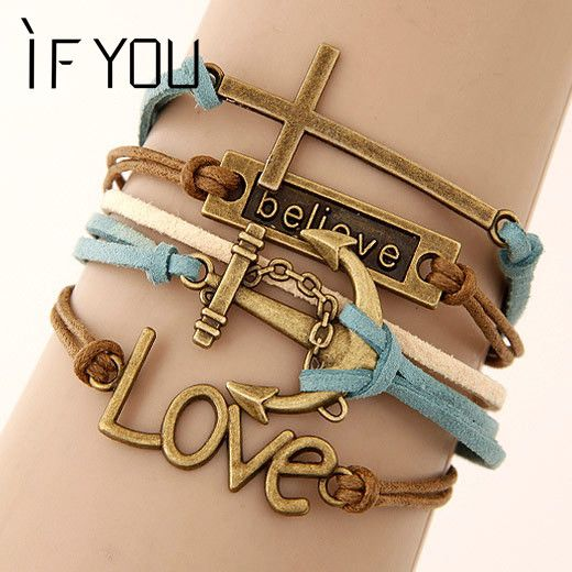 Charm Bracelet Multilayer Leather Made //Price: $8.99 & FREE Shipping //     }