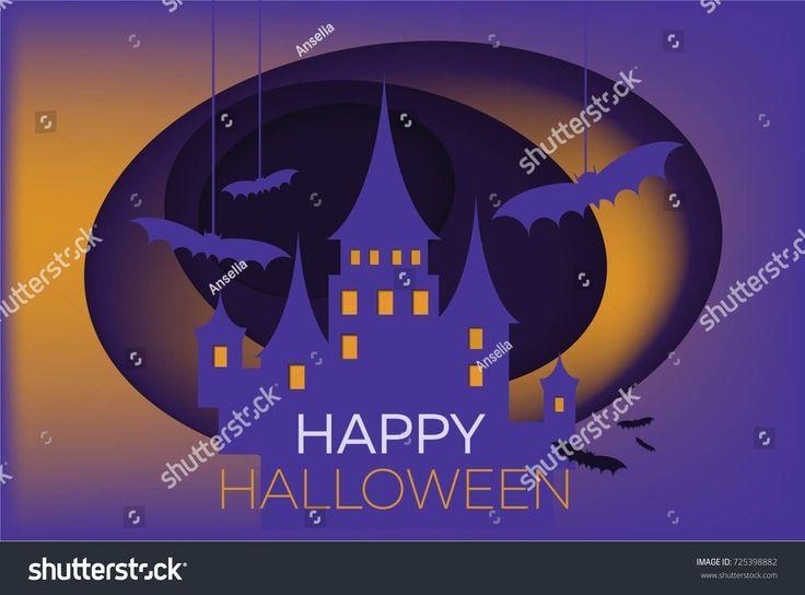 Paper art Scary halloween castle. Halloween things