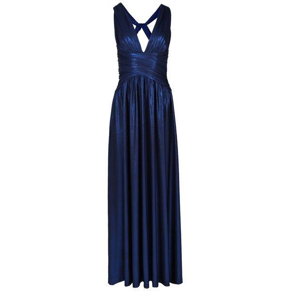 ASHLYNE Sax Blue Metallic Maxi Dress Boasts a Plunging Neckline... ($400) ❤ liked on Polyvore featuring dresses, cocktail maxi dresses, metallic blue dress, maxi dresses, plunge-neck dresses and maxi length dresses