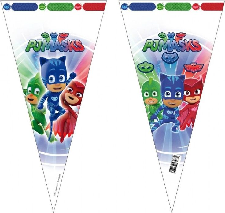 6 PJ MASKS SWEET CONE BAGS~EMPTY FILL YOURSELF CANDY PARTY BAGS~FREE PP UK