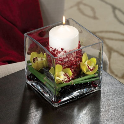Contemporary Candle Centerpiece With Florals Using