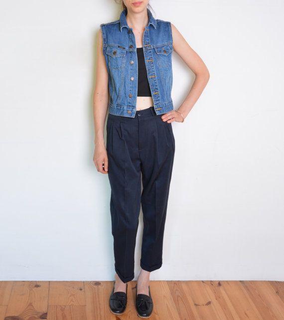 90's denim vest blue jeans grunge rodeo vest by WoodhouseStudios