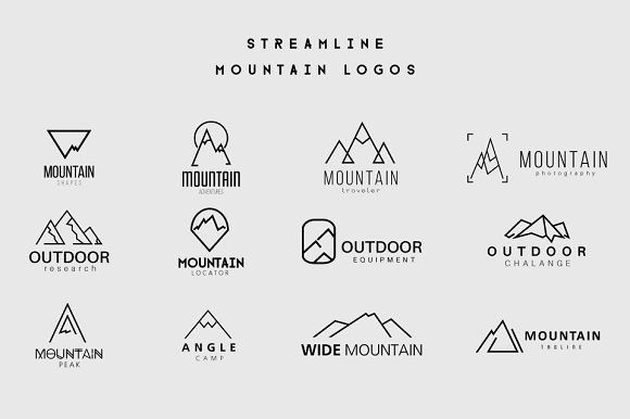 Streamline Mountain Logos by lovepower on @creativemarket