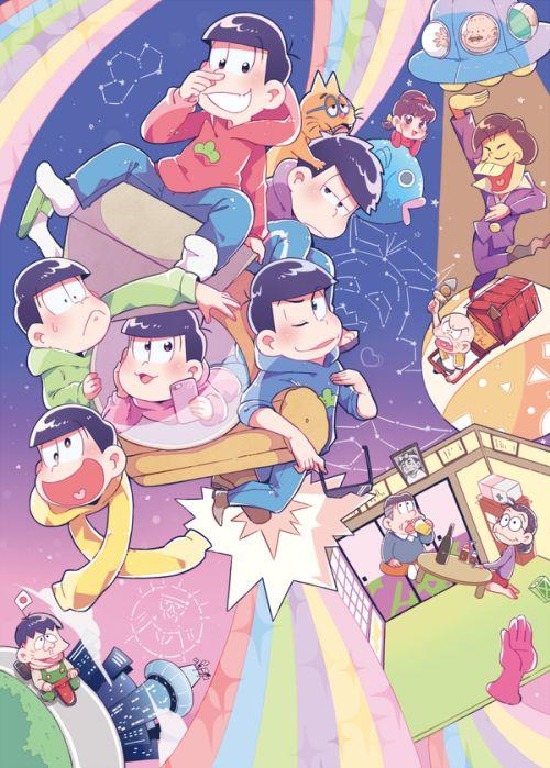 Osomatsu, Ichimatsu, Karamatsu, Choromatsu, Todomatsu, Jyushimatsu, Iyami, Totoko, Chibita, Hata-bou, Dayon, Mrs. Osomatsu, and Mr. Osomatsu ||| Osomatsu-san Fan Art by じくの on Twitter