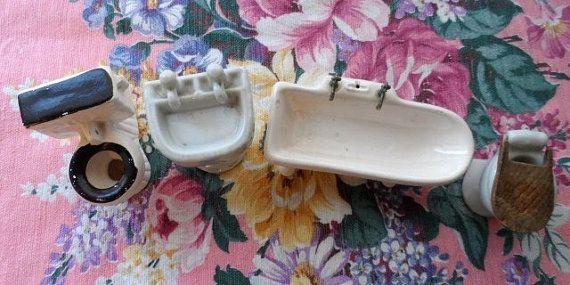 Vintage Dollhouse Furniture Bathroom Fixtures Porcelain Pedastal Sink, Clawfoot Tub, 2 Toilets-Japan via Orphaned Treasures Etsy