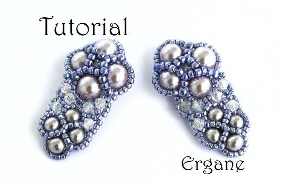 Very elegant and shiny earrings. This earrings looks great with pearls (you can use also Fire Polish) and sparkly bicone beads. It's perfect for evenings.  #beaded #jewelry #tutorial