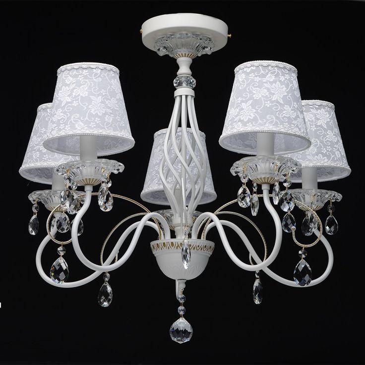 Deckenleuchte Elegance Style in Weiß / Gold mit Kristallen