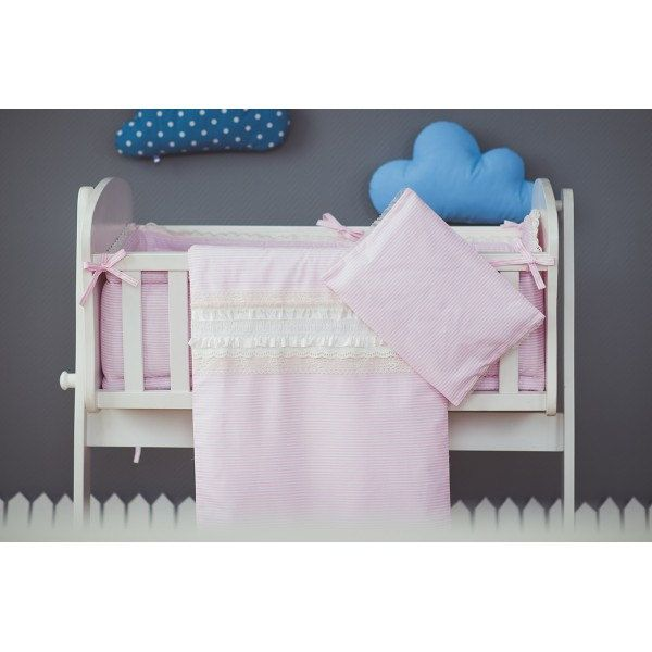 Duvet and pillow covers Pink - Cradle bedding pink white ruffled lace - Baby girl bedding by CotandCot on Etsy