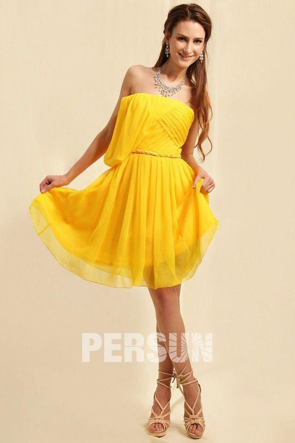 #Vestido de #Cóctel/#Fiesta de baile Hasta la Rodilla de #Gasa Amarillo Sin tirantes #Plisado - Persun.es