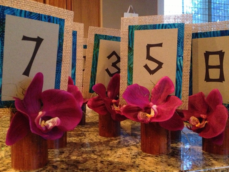 Tropical Burlap Table Numbers Luau Tropical Reception