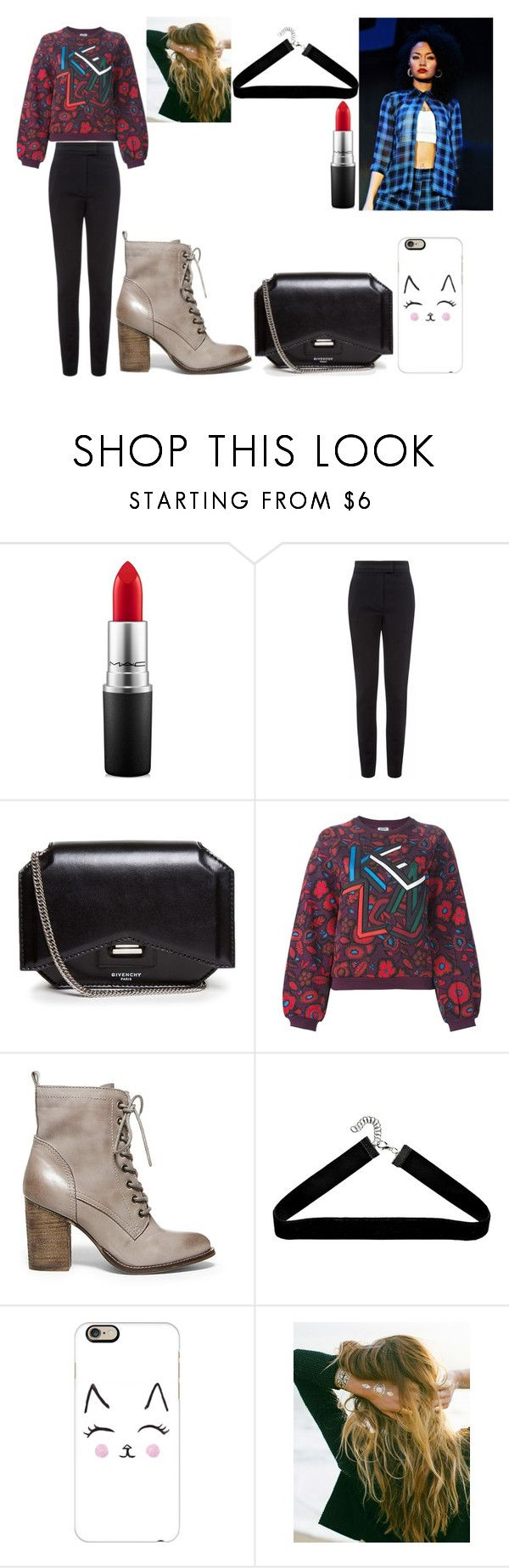 """""""rock climbing with leigh"""" by reythefrog ❤ liked on Polyvore featuring MAC Cosmetics, Vielma London, Givenchy, Kenzo, Steve Madden, Casetify, Lulu DK, women's clothing, women's fashion and women"""