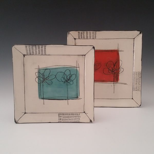Scribble Flower Square Plate by Whitney Smith: Ceramic Platter available at www.artfulhome.com