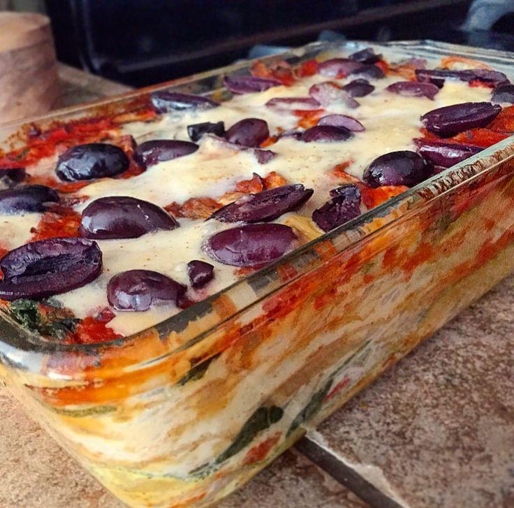 Vegan Lasagne with zucchini, butternut squash, mushrooms and spinach ...