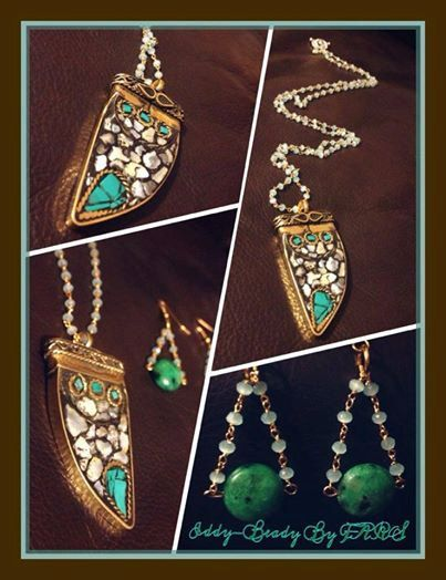 Stunning Indian pendant on crystal chain  total by JewelryByFARS