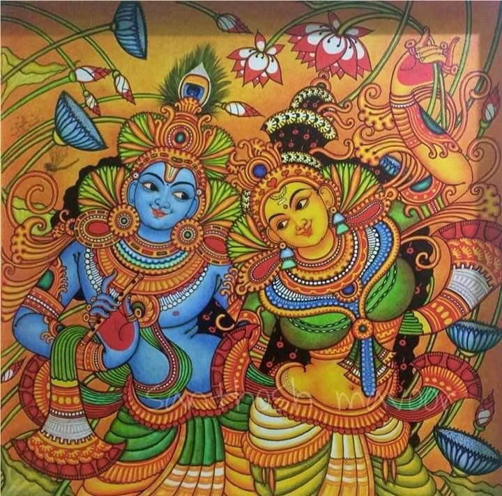 Pin By Kousalya On Kerala Mural Painting Kerala Mural Painting Mural Painting Mural Art Design