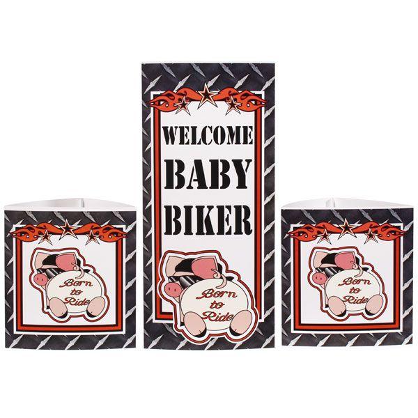 harley davidson baby shower biker baby shower centerpiece set 3 pcs