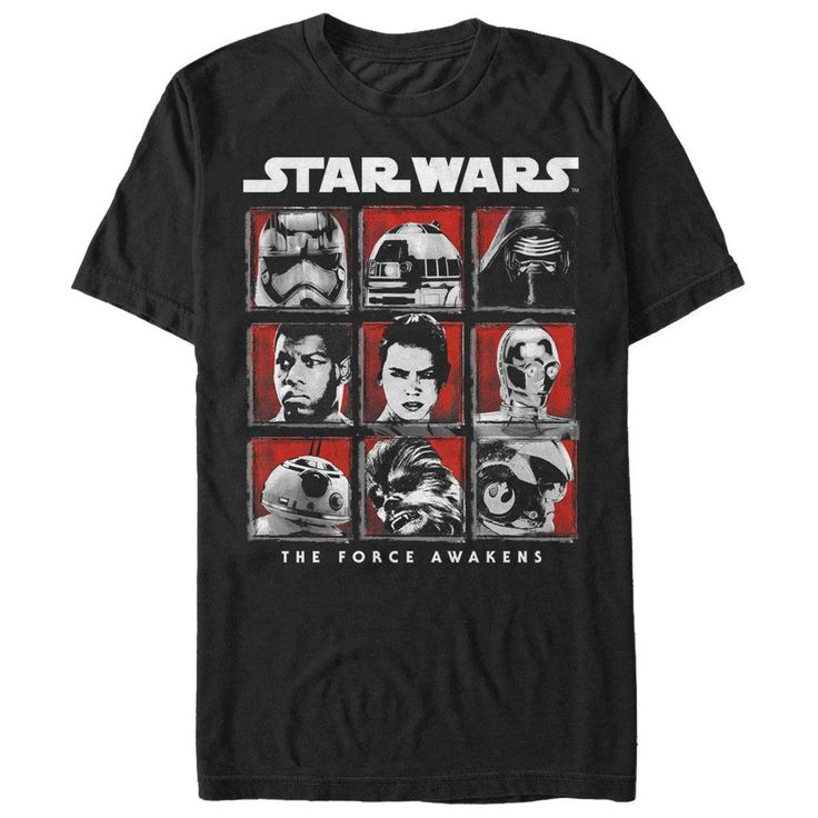 The Star Wars Episode 7 Cast Black T-Shirt might just make you feel like youre in a galaxy far, far away. A lightly distressed black, white, red, and gray print on the front of this cool black Star Wars Episode 7 T-shirt features Captain Phasma, R2-D