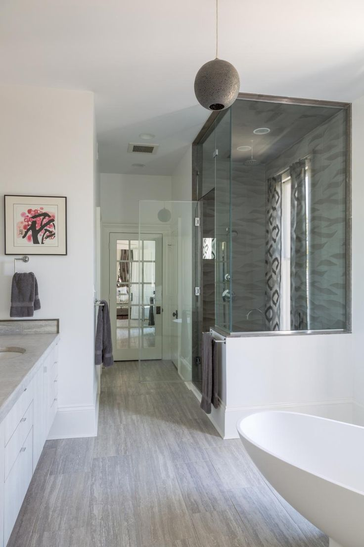 Spa bathroom color schemes - A Glass Walk In Shower With A Textured Tile Backsplash Brings A Luxurious Feel To Spa Bathroomsfarmhouse