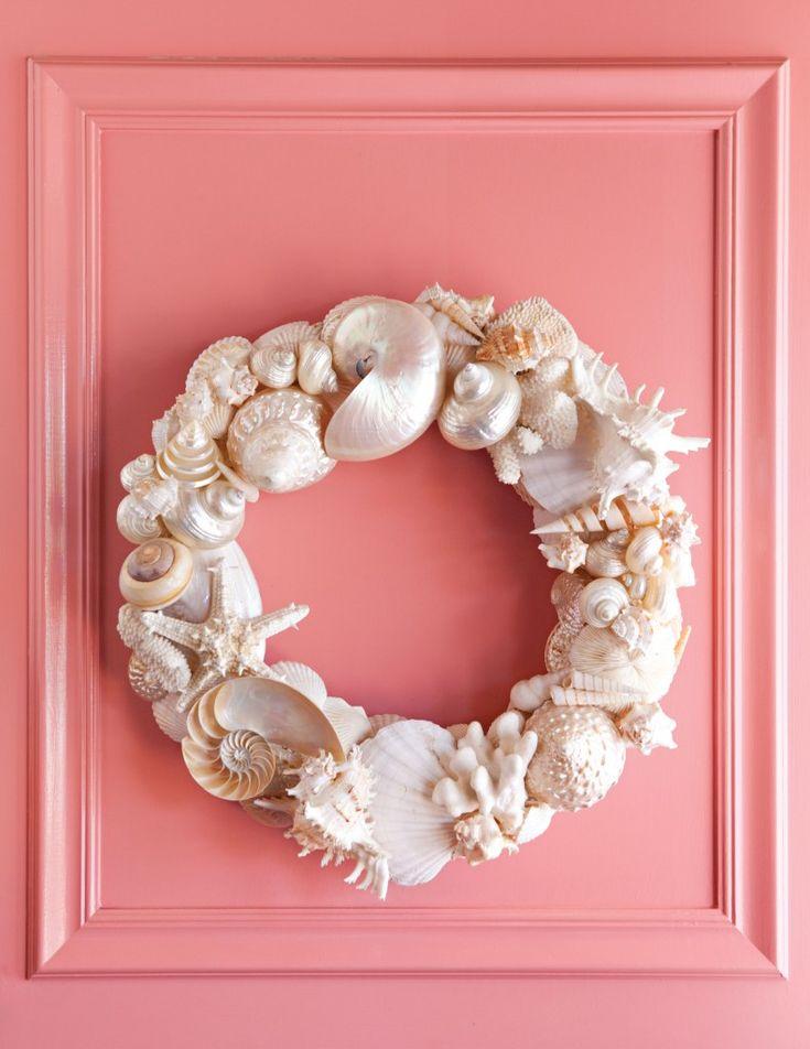25 best ideas about seashell wreath on pinterest shell for Seashell wreath craft ideas
