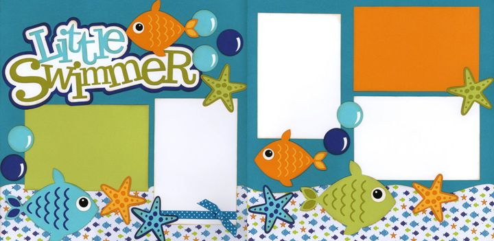 little swimmer, scrapbooking layout