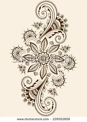 Vector abstract floral elements in Indian mehndi style. Abstract henna floral vector illustration. Design element.