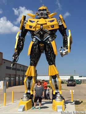 Stillwater, Oklahoma: Full-Size Transformer: Bumblebee -G&M Body Shop Address:  5104 W. 6th Ave., Stillwater, OK Directions: G&M Body Shop. West edge of the city, on the north side of Hwy 51/W. 6th Ave. A quarter-mile west of the stoplight at Country Club Rd, next to the Motel 6. - See more at: http://www.roadsideamerica.com/tip/49831#sthash.4rwiiTj6.dpuf