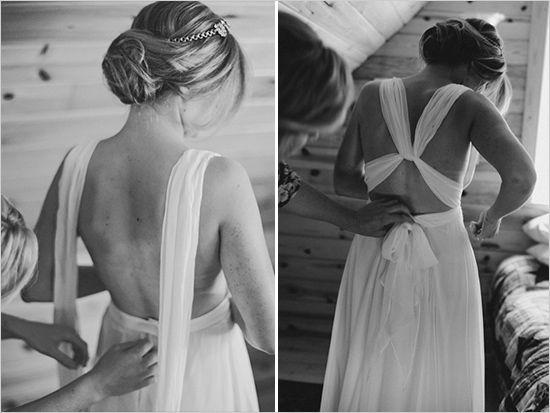 wedding dress with a twist top