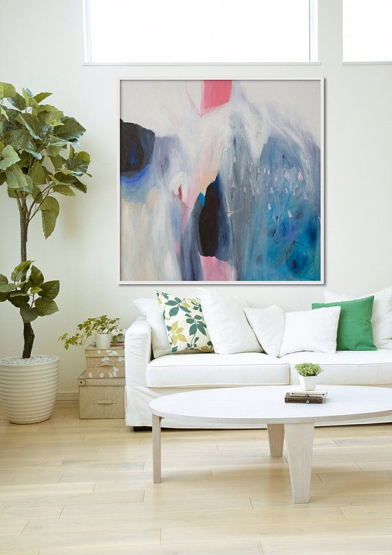 "GICLEE print, blue abstract painting with pink and white. Modern painting ""Roses are Pink"""